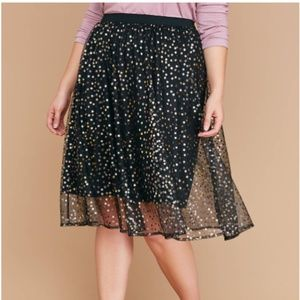Lane Bryant Black Star Mesh Full Midi Skirt 10/12